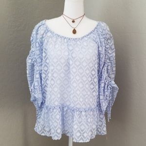 Democracy Ruffled Bell Sleeve Gathered Top